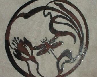 Dragonfly in Lotus Flower   - Metal art