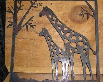 Giraffes in a park  - Metal art