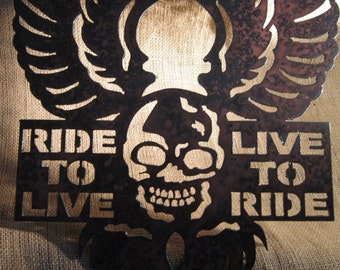 Ride to Live-Live to Ride-Motorcycle Metal Art
