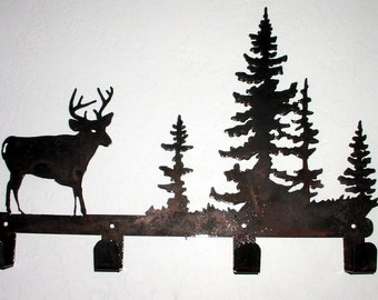 Coat Rack w Buck - Metal art