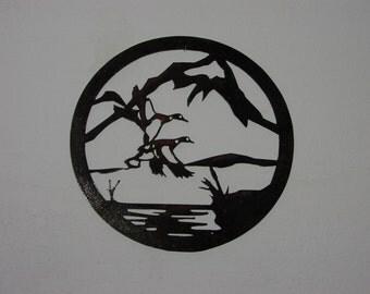 Ducks in Flight  - Metal art