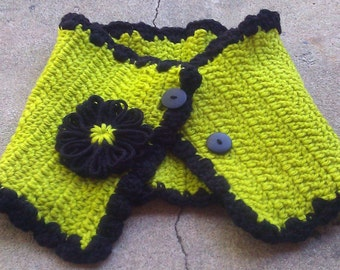 Handmade Crocheted Lime Green Neckwarmer with Loomed Flower