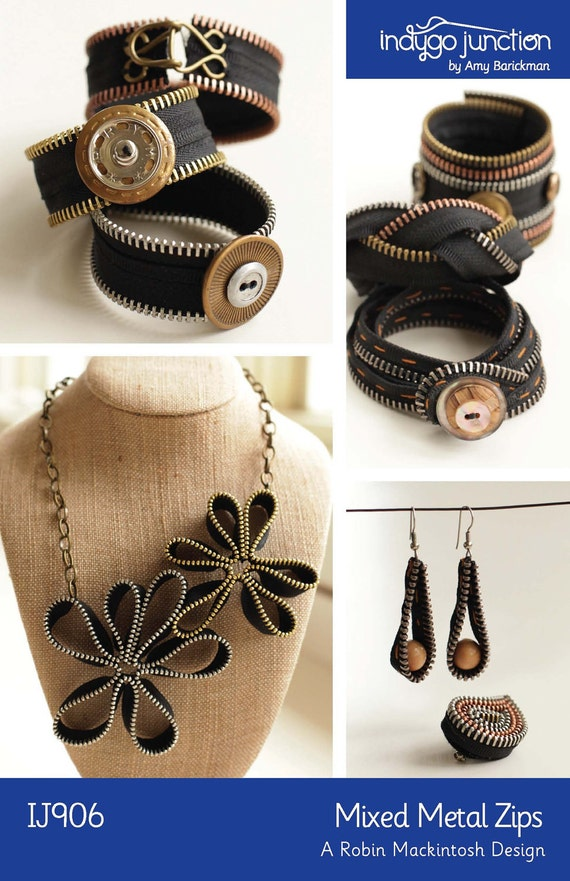 Mixed Metal Zips Digital Craft Pattern PDF - create jewelry (bracelet, necklace, earrings, pin) using sewing notions and recycled zippers