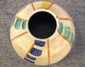 VASE Moderne STUDIO Ceramic Signed STRIPES  textured glaze 3 x 4