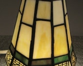 Arts and Crafts LAMP Shade SLAG GLASS stained 5 in diameter 5 inches tall green and beige