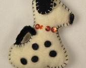 Xmas tree Ornament DOG Dalmatian handcrafted felt and sequence  3 X 2