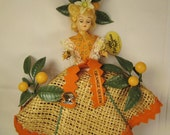 FLORIDA ORANGE Queen Souvenir DOLL Patti Originals Miami 1940s-50s mint  in original box 13 x 9 x 3