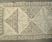 LACE Runner Cutout White open work and linen crochet  Embroidered Floral Folk Art Openwork  54 x 17