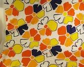 POP ART FLOWERS Yardage Cotton Piquee  app 100 x 44 textured blue yellow orange black white