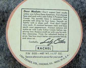 VINTAGE 1940'S -'50's LADY Esther - Rachel Shade Chicago Ill Usa Face Powder
