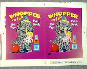 VINTAGE 1960s DOG WHOPPER Paint Book Publisher'S Proof Cover