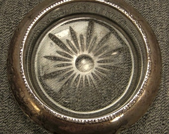 Sterling and Glass ashtray vintage signed Frank M. Whitting  Co