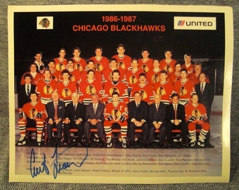 1986-7 Blackhawks CHICAGO Photo Autographed CURT FRASER
