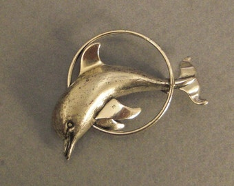 BEAU Sterling DOLPHIN Jumping in Hoop BROOCH Signed