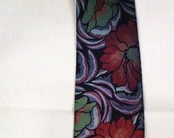 Designer Rainbow Neck TIE 1980s Wide  Silk High Sheen William Morris Flowers design 55in