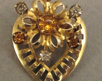 Vintage VALENTINE Brooch Pin with Rhinestones