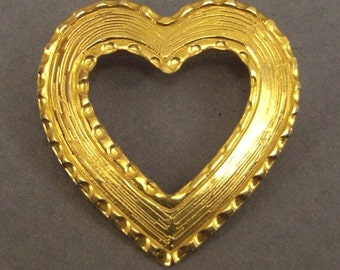 Vintage VALENTINE Brooch Pin textured goldtone