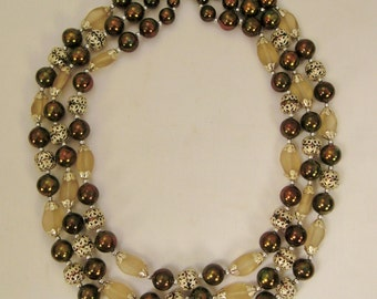 vintage glass beads Necklace  irridescent and clear 3 Strands  19 in  long