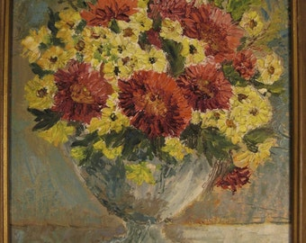 PAINTING Impressionistic STILL LIFE Asters bachelor buttons  Gallery Signed j Bobrowska  1968  Framed ap 12 x 14
