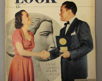 LOOK Magazine March 1 1949 15c BOB HOPE on Cover movie awaeds  rare vintage