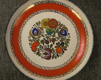 AUSTRIA  ENAMEL  Bowl Tray Colorful  flowers WHITE background Signed  handcrafted ap 5 in diameter