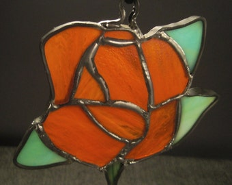 ROSE Flower Stained GLASS Decoration Window hanging handcrafted ap 5 x 5