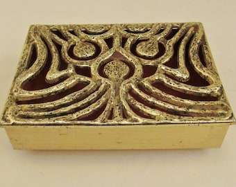 Mid CENTURY Brass Cast METAL ATOMIC   Design Hinged Jewelry box  ap 5 x 4 x 2 in