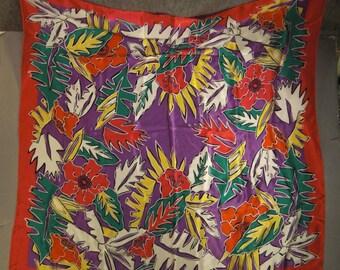 Vintage SCARF dESIGNER 1970s Ginnie Johansen USA  Silk Satin 36 X 35 Floral