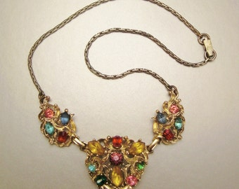 vintage stunning  Necklace Goldtone faceted RHINESTONES  15 in  long