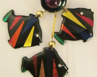 FISH CHANDELIER EARRINGS Handcrafted signed color and black plastics  pierced