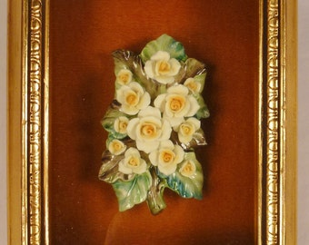porcelain ROSES FLOWERS  GILT Frame shadow box  under glass 11 x 9 Mothers day gift