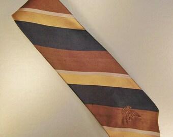 Designer COUNTESS MARA  Neck TIE Silk StripesS  Design 1980s Silk  Satin 60 in long C M Logo