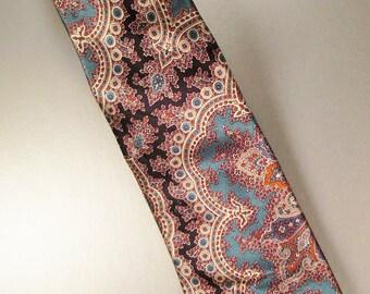 Designer COUNTESS MARA  Neck TIE Silk Paisley  Design 1970s Silk  Satin 60 in long 4 in wide C M Logo