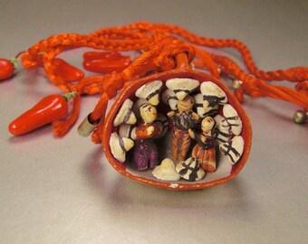 MEXICAN FOLK ART Necklace pendant Ceramic Market scene Sombreros Chiles  figures braided  silk cord