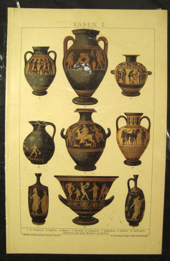 Antique GREEK VASES vessels Chromolithograph illustration from 1900s Berlin Germ. Encyclopedia