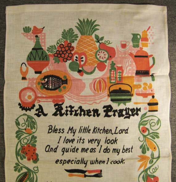 Kitchen Prayer vintage 1960s colorful linen kitchen toerl mint 32 x 16