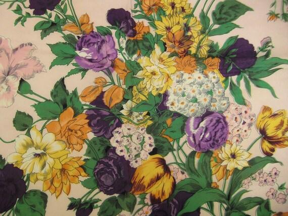 Vintage  SCARF 1950s DUTCH Bouquet Silk Gauze Organza 30X30 hand hemmed