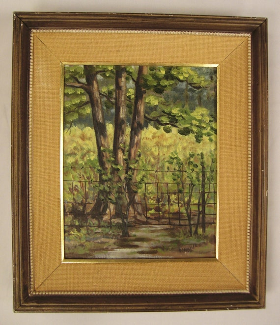 Impressionistic OIL  Landscape Signed by artist  Trees and Fence Scene Original 1971 14x12 Framed