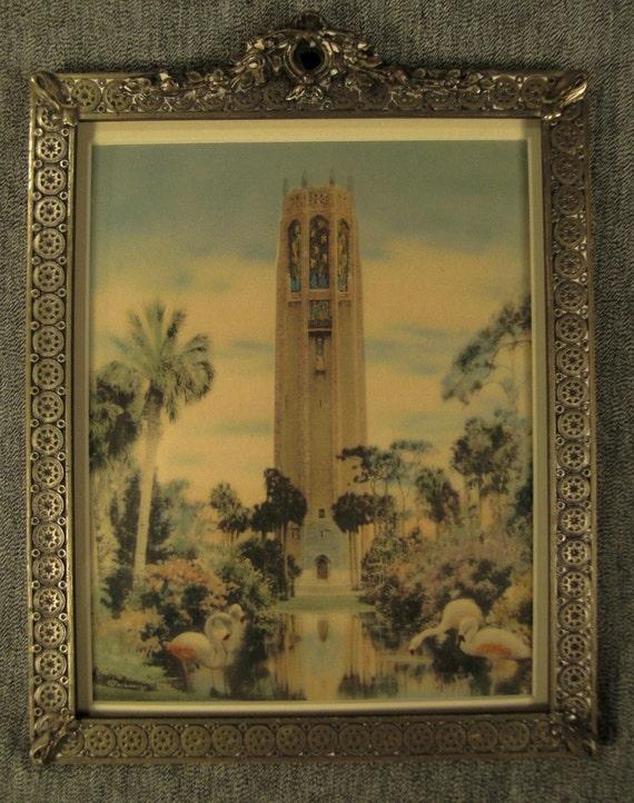 BOK TOWER Florida Art Deco Frame  signed Harris Co Metal and Wood  11 X 9  Framed