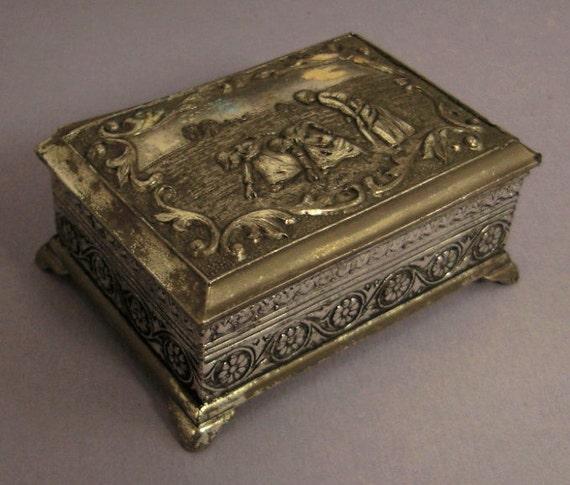 vintage The GLEAMERSJEWELRY box casket CAST  Scrollwork red felt  Silvertone 2.5 x 2 x 1 Napoli