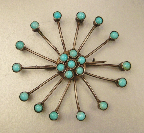 Vintage Eames-era STARBURST BROOCH Southwestern Tourquoise Sterling Handcrafted app 2 in diameter