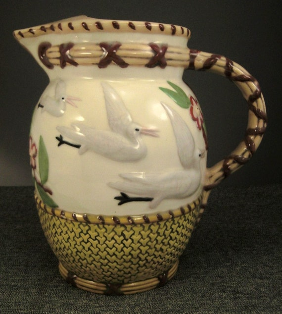 PITCHER STORKS Ceramic Handcrafted design  pottery Handpainted  1970s  signed  9 in tall