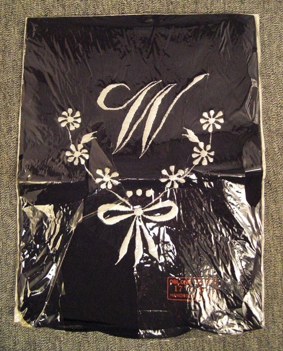 Vintage SILK Gauze SCARF Embroidered  Initial W Mint made in Japan hand rolled edges 17 x 44