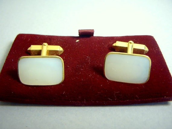 Cuff Links MOP vintage 1940s 50s MINT Old Stock Wedding GROOM Gift Germany