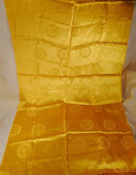 VINTAGE SATIN polyester Brocade 1960s  Chinese Symbols  Hong  Kong  Yellow  77 long 35 wide