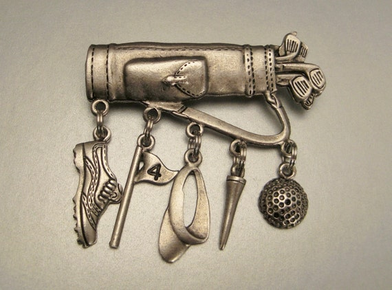 Brooch GOLF BAG with five Golf CHARMS hanging pewterFathers day gift