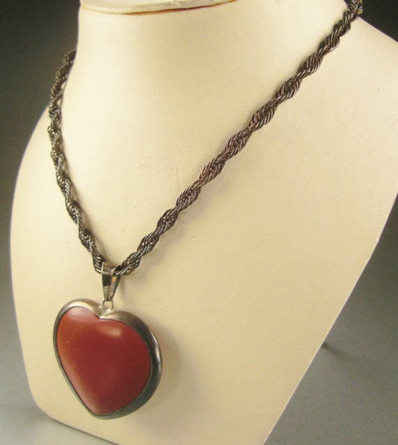 Reserved for Alison Vintage CARNELIAN VALENTINE Pendant Sterling  CHAIN Necklace Handcrafted cast signed 15 L