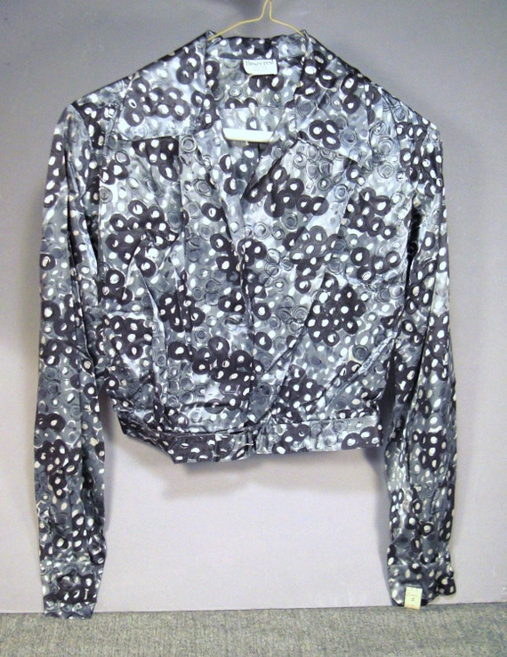 RETRO Rayon ATOMIC Design Dead Stock 1950'S Blouse-Jacket  mint Rockabilly