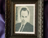 Richard Feynman cross stitch portrait pattern