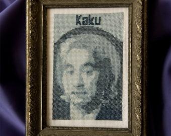 Michio Kaku cross stitch portrait pattern